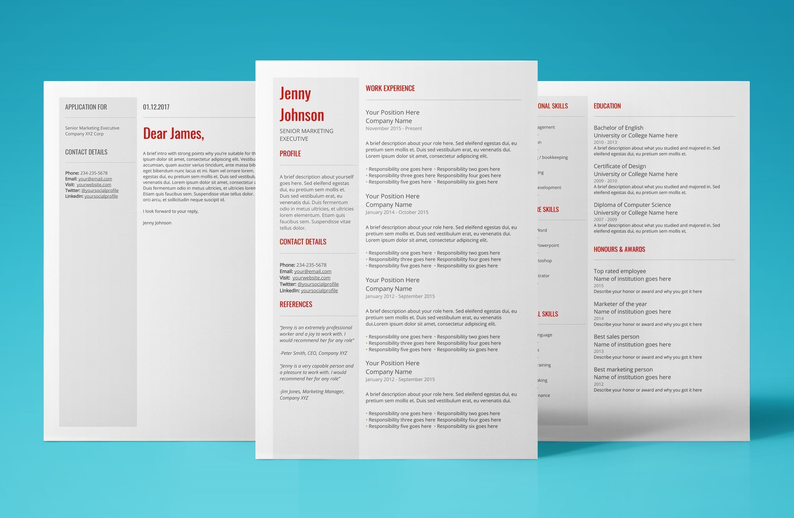 google resume templates - instant download