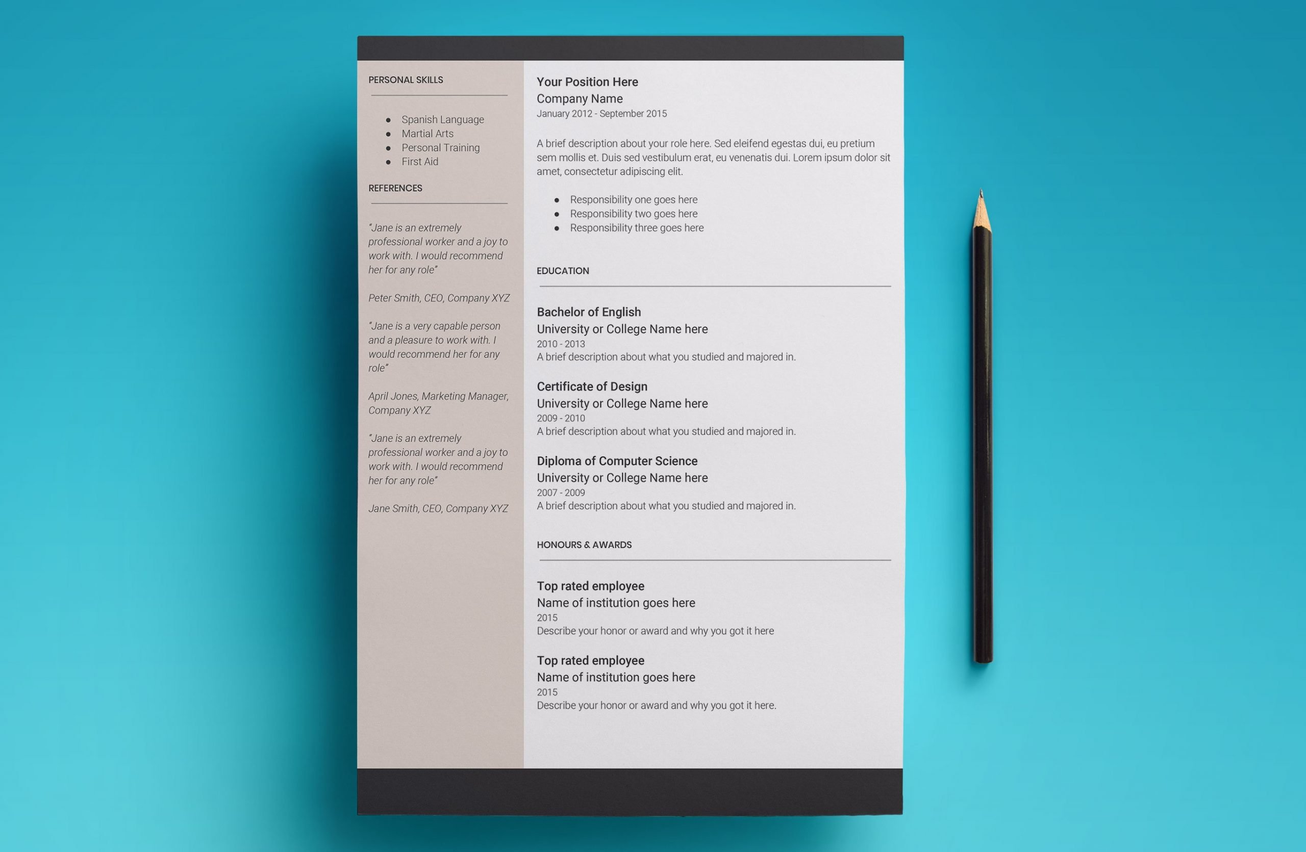 europa resume template page 2