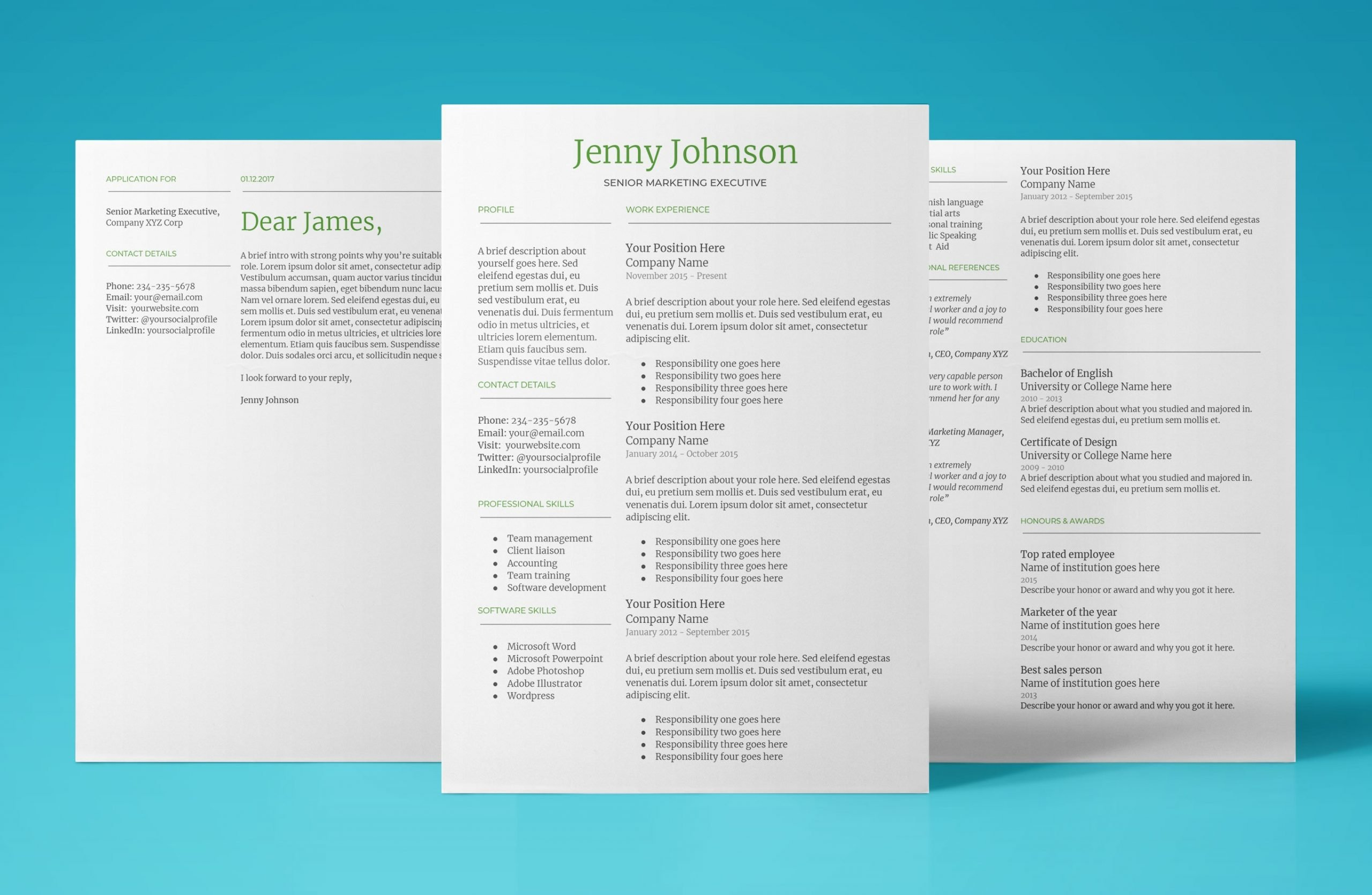 mercury resume template bundle