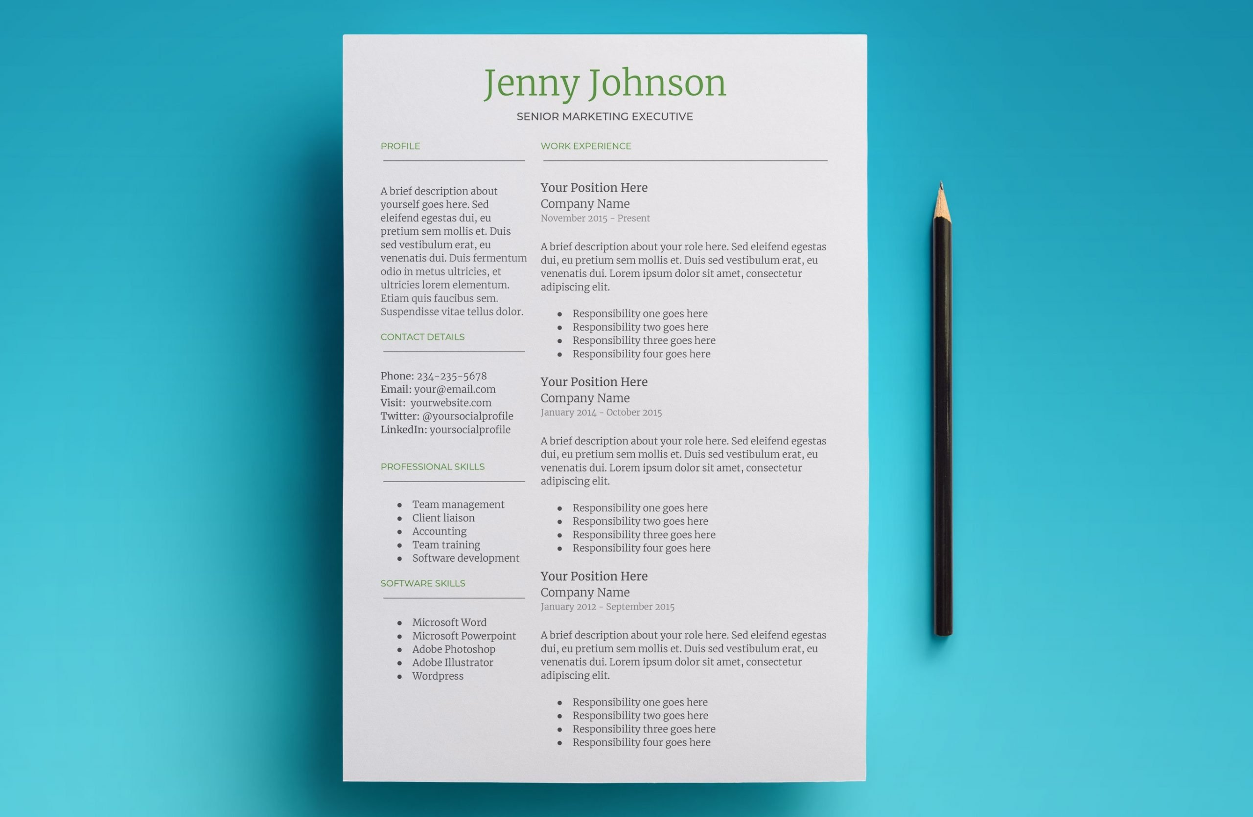 mercury resume template page 1