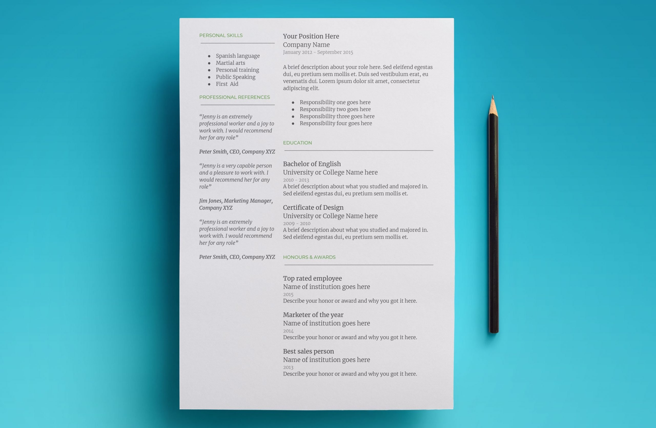 mercury resume template page 2