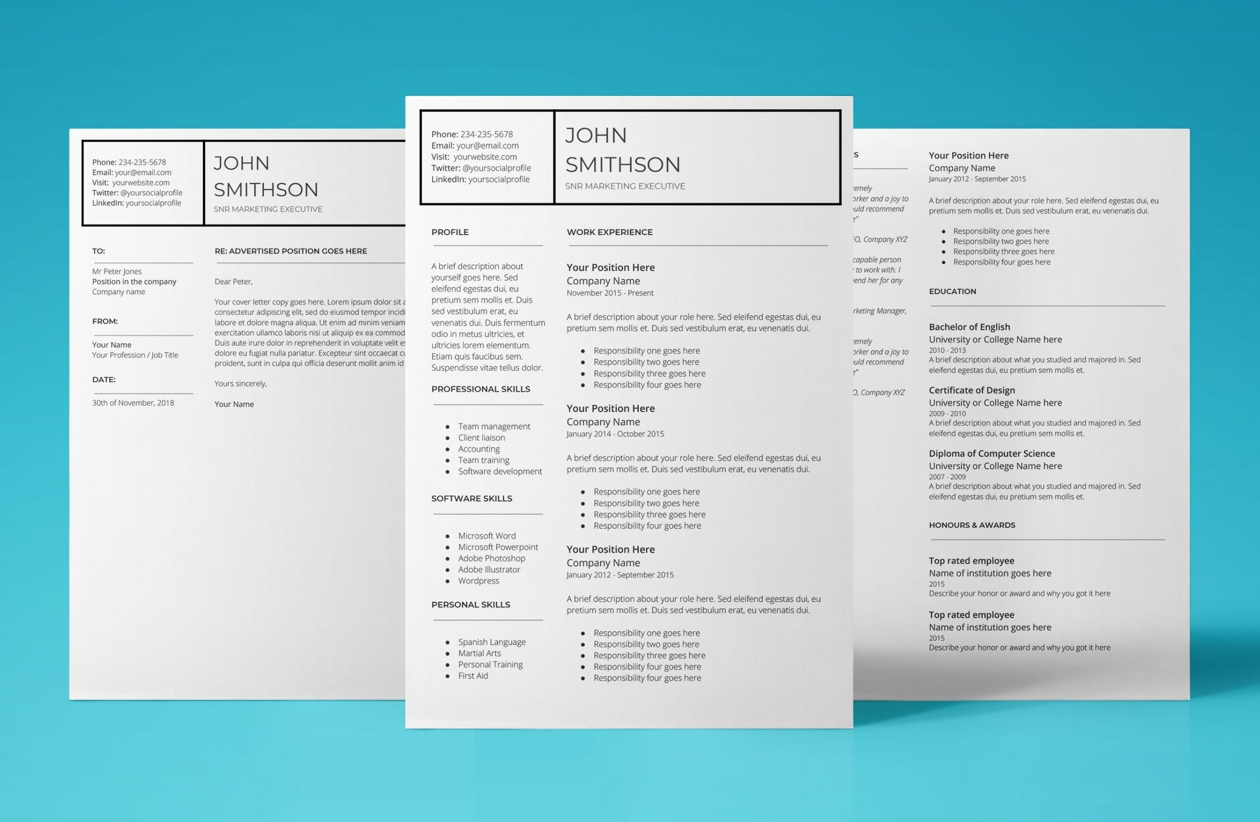 pandora resume template bundle