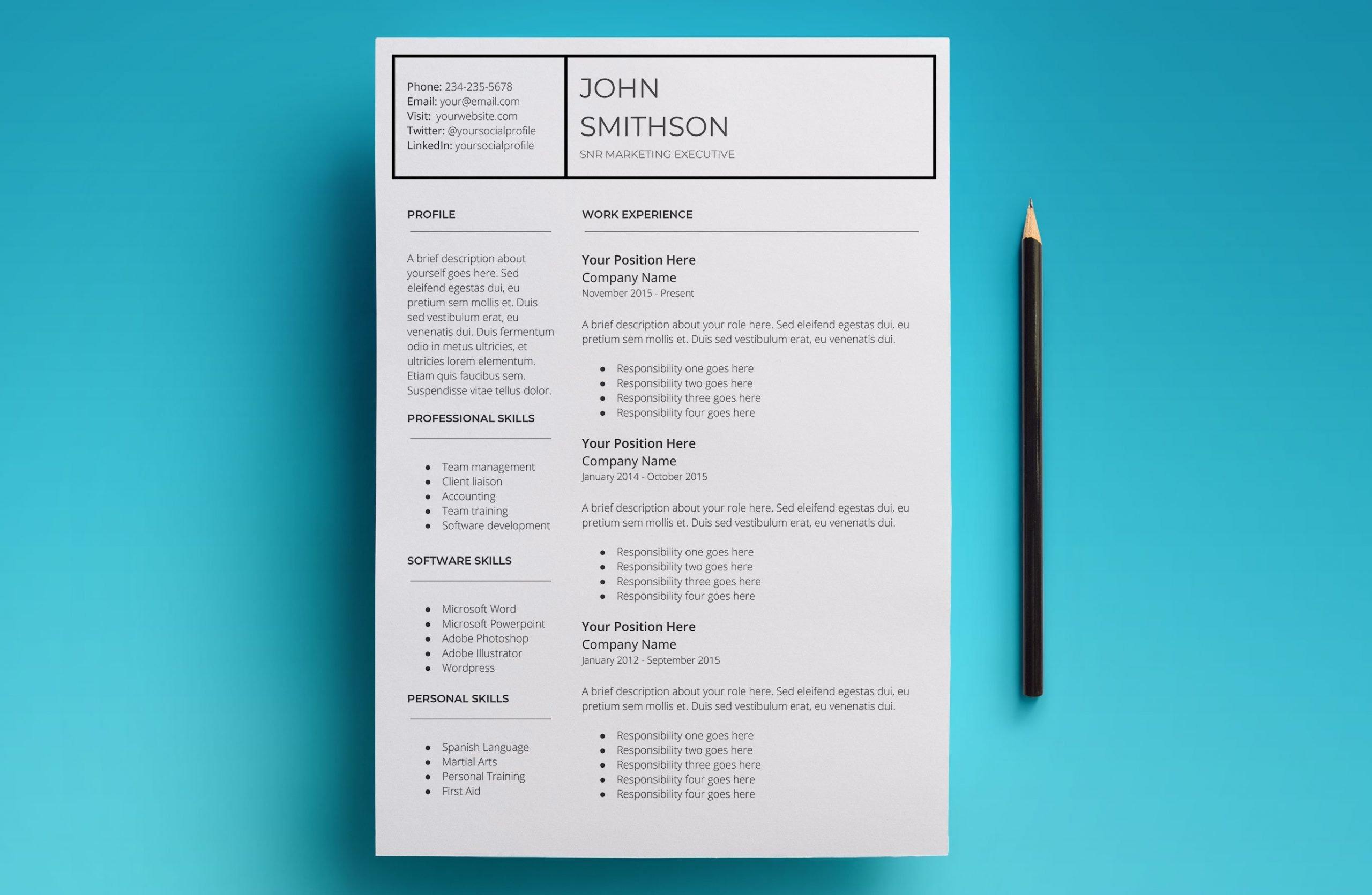 pandora resume template page 1