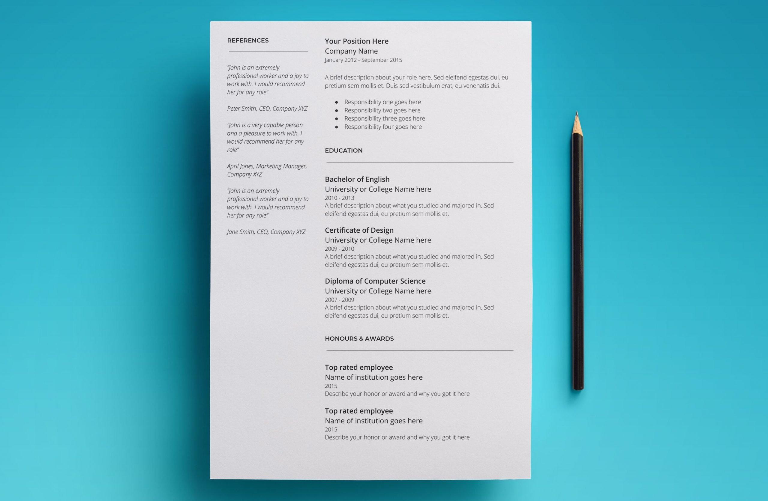 pandora resume template page 2