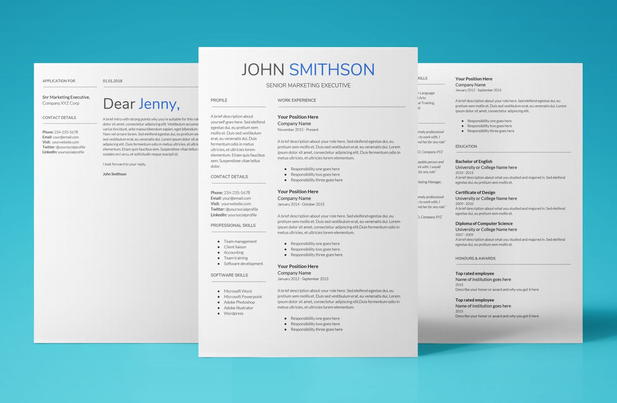 saturn resume template bundle