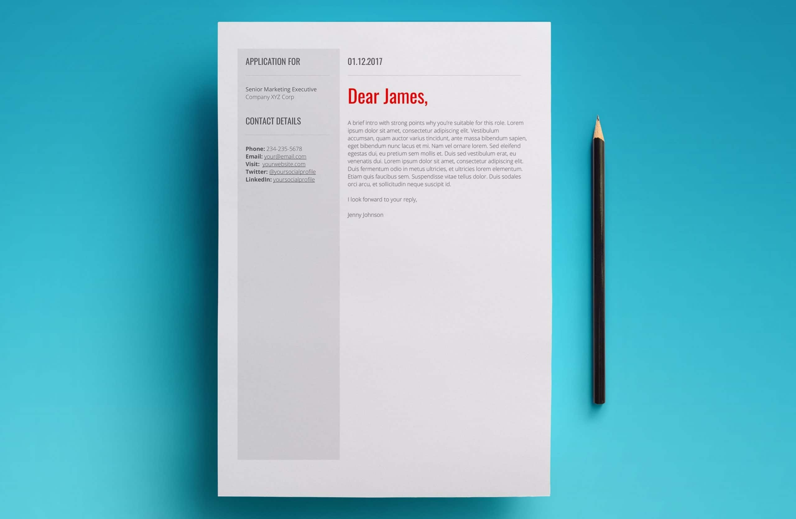 venus template cover letter
